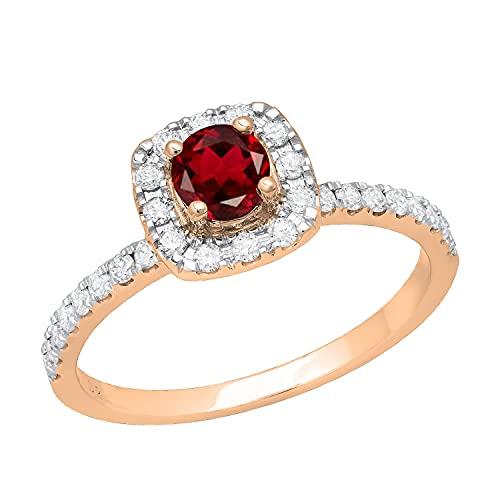 Dazzlingrock Collection Anillo de compromiso redondo de 4,5 mm con diamantes blancos y granate para ella con piedras de hombro, oro rosa de 14 quilates, talla 5