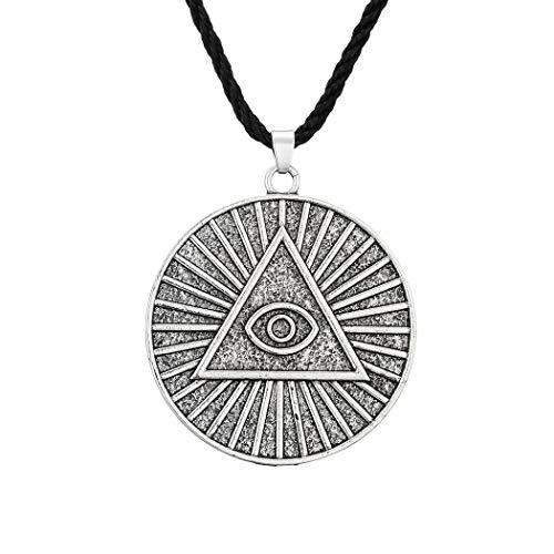 cxwind Collar con colgante masónico masónico para hombres y niños, triángulo de visión de ojo de Dios, regalo de la pirámide egipcia retro