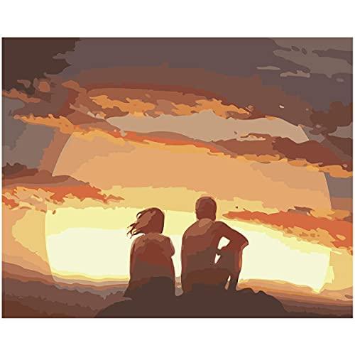 Beaxqb Pintura por númerosSin Marco Puesta de Sol románticaSin marcoKits de Regalo de Pintura al óleo paraSin marcopara decoración del hogarSin marco40x50cmSin Marco_
