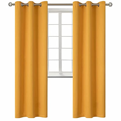 BGment Blackout Curtains for Living Room - Grommet Thermal Insulated Room Darkening Energy Saving Curtains for Bedroom, Set of 2 Panels (42 x 84 Inch, Mustard Yellow)