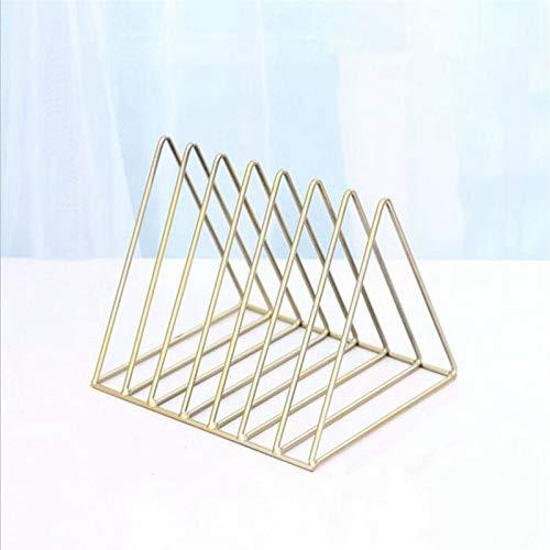 PPLAS Nordic triángulo joyería Simple Caja de Almacenamiento en Rack Revista Hierro Forjado Archivo Estante de Almacenamiento de Escritorio de Oficina (Oro) (Color : Gold)