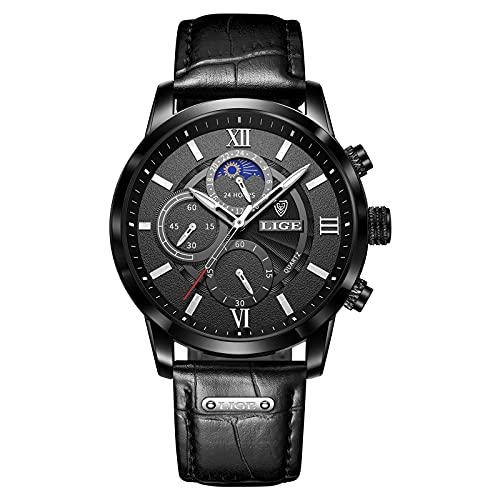 LIGE Relojes para Hombre Multifuncional Cronógrafo Impermeable Reloj De Pulsera De Cuarzo Analógico Puntero Luminoso Moda De Negocios...