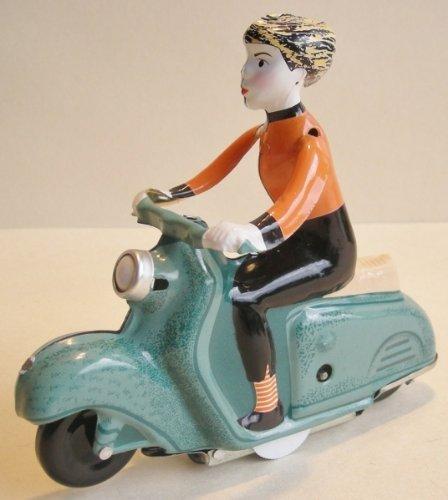 Generisch Blechspielzeug - Motorrad Scooter Girl auf Motorroller, grün