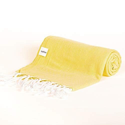 AYSIBOO Toalla de Playa Hecha de 100% algodón 165 x 95 cm Toalla Tradicional de hammam Ideal para Sauna Playa Fitness Yoga Deporte hamam I Toalla pestemal fouta - Amarillo Llanura