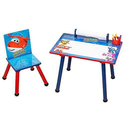 Super Wings 2tlg. Kinder Schreibtisch mit Holzstuhl, Tisch + Tafeloberfläche + Papierrolle + Becher C3DZY003
