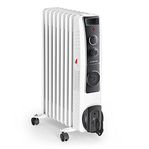 TROTEC Ölradiator TRH 22 E - elektrischer, energiesparender Heizkörper mit 9 Rippen, 3 Heizstufen (800/1.200/2.000 Watt), regulierbaren Thermostat, Turbogebläse und Sicherheitsabschaltfunktion
