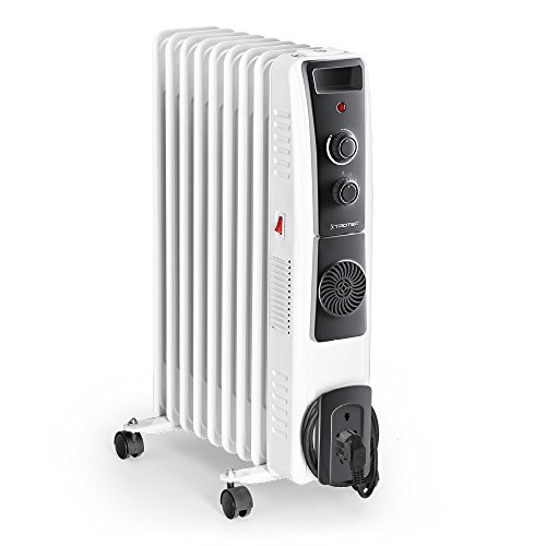 TROTEC Ölradiatore TRH 22 E - elektrischer, energiesparender Heizkörper mit 9 Rippen, 3 Heizstufen (800/1.200/2.000 Watt), regulierbaren Thermostat, Turbogebläse und Sicherheitsabschaltfunktion