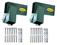 Includes 2 (TWO) A-Frame Swing Set Brackets and 2 (TWO) sets of A-Frame Bracket Hardware – EVERYTHING you need to construct a Free-Standing A-Frame Swing Set Our brackets are a solid, one-piece design, open-ended and constructed with heavy-duty steel...