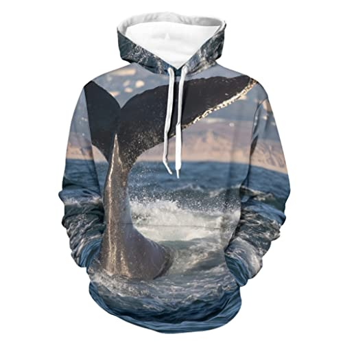 kikomia Sudadera con capucha y bolsillo de manga larga para el mar, Blanco, XL