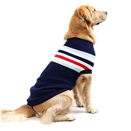 HSJDP Gestreifte Hund Pullunder warme Mantel Weiche Strickwolle Winter-Strick-Kleidung Klassische Warme Mäntel für kleine Mittel Großer Fressnapf Hunde,A,15(in)