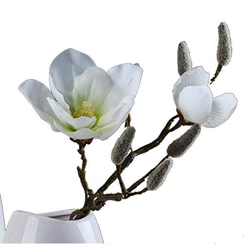 Mannelijke kunstbloemen, Simulatie Magnolia enkele tak huis decoratie Vaas Bloem Arrangement Bloemen Decoratie