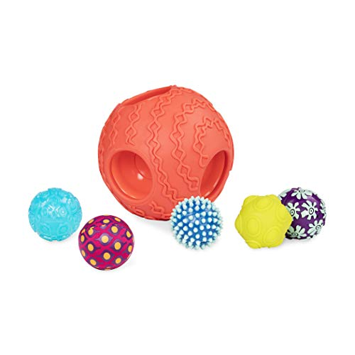 B. toys Baby Spielzeug 6 Bälle mit verschiedenen Formen, Farben und Texturen, Baby Ball Set – Motorikspielzeug für Kinder ab 6 Monaten