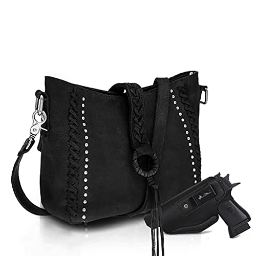 Genuine Leather Concealed Carry Hobo Purse For Women Studded...