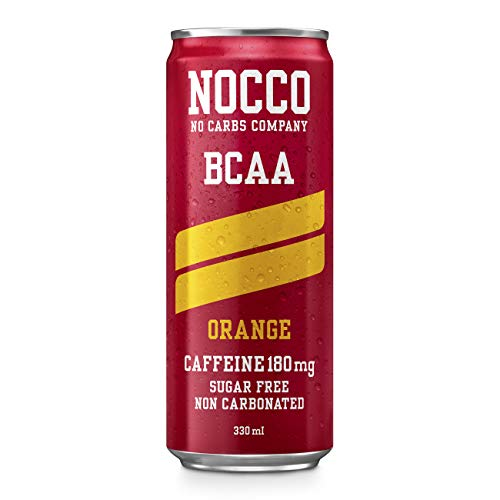NOCCO BCAA Orange 24 x 330ml | Sugar Free | Functional Energy Drink | No Carbs Company | Vitamin Enhanced with 180mg Caffeine | Flavoured Functional Drinks for Health, Fitness & Everyday