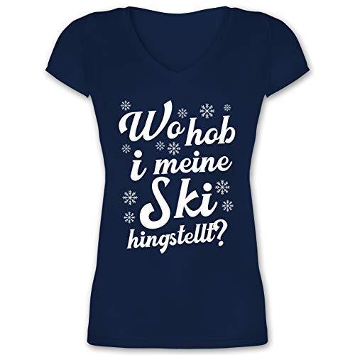 Après Ski - Wo hob i Meine Ski hingstellt? - weiß - L - Dunkelblau - Geschenk - XO1525 - Damen T-Shirt mit V-Ausschnitt
