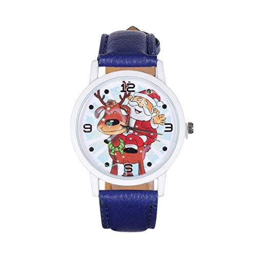 UKCOCO Reloj de Navidad Relojes de Moda con Diseño de Alce de Dibujos Animados para Hombres Reloj de Cuarzo con Cinturón de Cuero Regalo para Tus Amigos Y Familiares