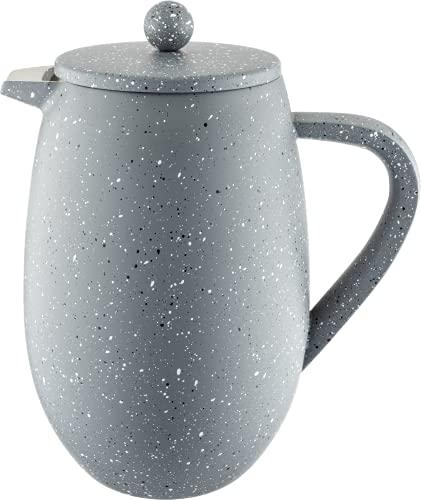 Café Olé BFD-08GG Doppelwandiger Bauchiger Kaffeebereiter aus hochwertigem Edelstahl – Grau Granit, para 8-Mokkatassen geeignet, 1L