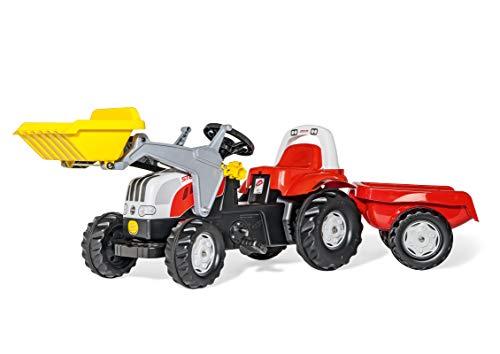 Rolly Toys 023936 - rollyKid Steyr CVT 6165 Trettraktor mit Anhänger (für Kinder von 2,5 bis 5 Jahren, Heckkupplung)