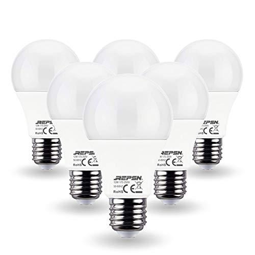 REPSN® E27 LED Lampe,12W (Ersetzt 100w Watt Glühbirne),Naturweiß 4000K, 1350 Lumen, A60 Leuchtmittel, Nicht Dimmbar, 6-er Pack