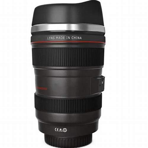 Cefrank Kameraobjektiv Tasse Kaffeetassen, Edelstahleinsatz, 350ml Schwarz