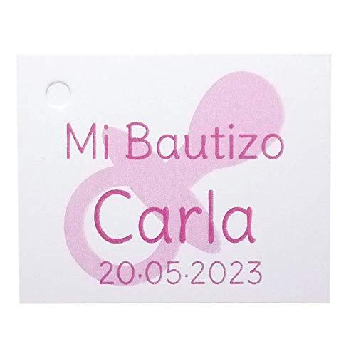 Etiqueta para detalle de Bautizo o Baby Shower, chupete de color rosa. Pack 25 udes.