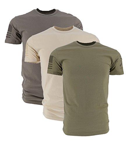 Grunt Style Ghost Basic Crew Men's T-Shirt (3-Pack: Cream/Warm Grey/Od Green, X-Large)