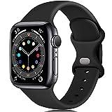 Epova Cinturino in Silicone Compatibile con Apple Watch 44mm 42mm, Cinturini di Ricambio per iWatch SE Series 6 5 4 3 2 1, Nero, Picc