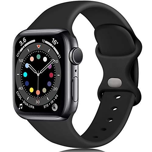 Epova Compatible con Correa Apple Watch 38mm 40mm, Mujer Hombre Silicona Pulsera para iWatch SE Series 6 5 4 3 2 1, Negro, Pequeño