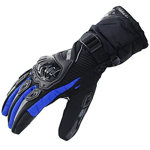 YGLONG Guantes de motocicleta para hombre, impermeables, para motocicleta, guantes de carreras, para invierno, guantes de moto y protección de pantalla táctil, color azul, talla XL)