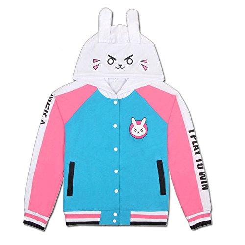 Damen Cute Bunny Jacke Cosplay Hoodie Sweatshirt Kostüm Blau & Pink Gr. Medium, DVA (dünn)
