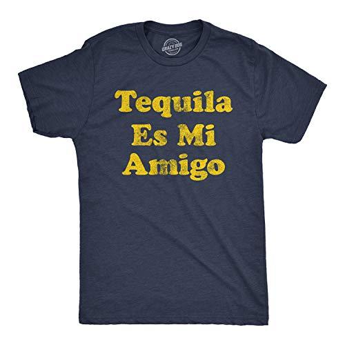 Mens Tequila ES Mi Amigo Tshirt Funny Cinco De Mayo Drinking Friend Humor Tee (Heather Navy) - L