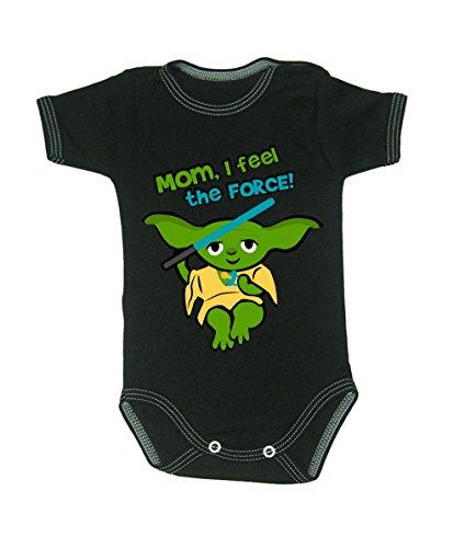 Couleur Mode bébé Yoda bodies à manches courtes 100% coton Petit bébé – 24 mois – 0012 noir 3-6 months, 68 cm
