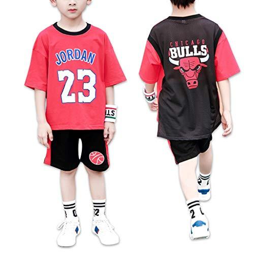 Chicago Bulls Michael Jordan 23# Jungen Basketball Freizeit T Shirt Trainingsanzüge Kinder Atmungsaktive Sportuniform Trikots - Kurzarm T-Shirts & Shorts