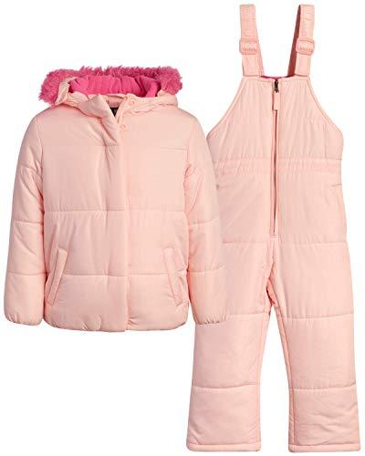 Steve Madden Girls Heavyweight Insulated Ski Jacket and Snow Bib Snowsuit Set (Infant/Toddler), Size 2T, Blush/Blush
