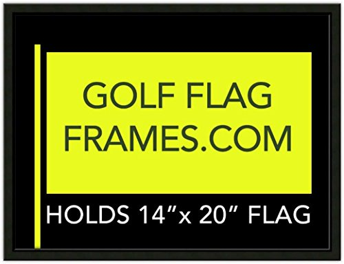 Golf Flag Frames 17x23 Black, Moulding blk-001, Reversible Green-Black Mat (Holds 14x20 PGA, Ryder Cup, US Open Golf Flags; Flag not incl)