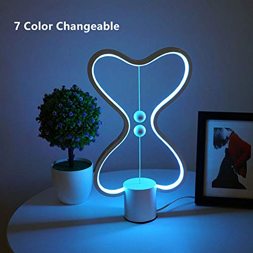 PElight USB LED Balance Light Smart tafellamp, voor woonkamer slaapkamer bedlampje 7 kleuren variabel, hartvormige lampenkap