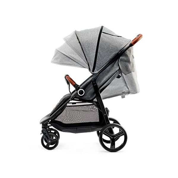 Kinderkraft Lightweight Stroller Grande, Stylish Pushchair, Baby Buggy, Foldable, Lying Position, Big Ajustable Hood, with Accessories, Rain Cover, Footmuff, from Birth to 3.5 Years, 0-15 kg, Gray kk KinderKraft BIG, ADJUSTMENT HOOD - Very large sun/wind shade, which may be extended by using the zip fastener COMFORT AND CONVENIENCE - Wide seat providing comfort and ensuring a long period of using the pushchair EASY HANDLING - Front swivel wheels provide easy manoeuvring, they may be locked for the straight-ahead drive. All four wheels with bearings and shock absorbers 2
