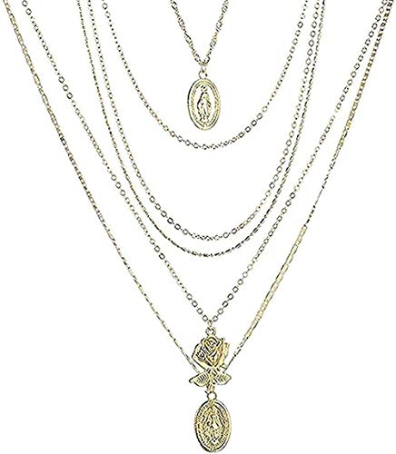 zxcdsaqwe Co.,ltd Collar Bohemio Collar Gargantilla Multicapa Color Dorado Figura Rose Colgante Collar para Mujer Regalo Collar Colgante Cadena para Mujeres Hombres