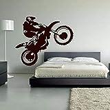 Motocross Vinyl Wandtattoo Motorrad Moto Wandkunst Home Decals Für Wohnzimmer Cool Bedhead Aufkleber Für Jungen 66X57CM