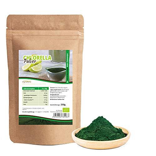 Mynatura Bio Chlorella Algen Pulver 250g I gemahlen I Vegan I Eiweiß I Mineralien I Rohkostqualität I Smoothie I Protein I DE-ÖKO-044 I 250g (PULVER)
