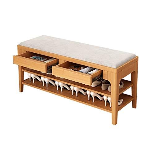 Tallador de zapatos de 2 niveles, banco de almacenamiento de entrada de madera de goma con estante para zapatos de asiento con cojín con 2 cajones y estantes de almacenamiento para dormitorio de sala