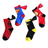 RoiRu 3-5 Years Old Kids Crazy Socks - Cartoon Marvel DC Superman Spider man Batman The Flash Design Children Cotton Comic Funny Socks Unisex Toddler Boys Girls (Superhero Set 4 pairs)