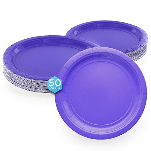 Amcrate Purple Disposable Paper Party Plates 9' - Ideal for Weddings, Party's, Birthdays, Dinners, Lunch's. (Pack of 50)