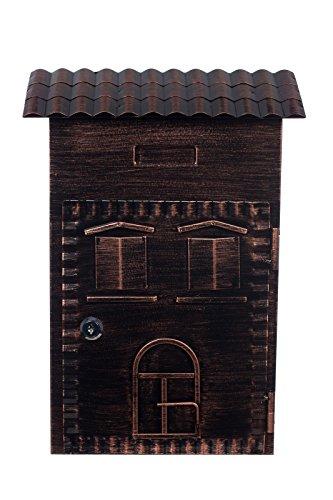 Antiker großer und sehr edler Briefkasten LB-6021- Bronze Wandbriefkasten, Briefkasten, Nostalgischer Englischer Briefkasten Alu - Guss 38 cm hoch . Mit Befestigungsmaterial für die Wand. mit 2 Schlüsseln , Rostfrei