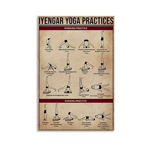 xingyao Póster retro de yoga de Iyengar Yoga Practices Canvas Art Poster y Wall Art Picture Print Modern Family Bedroom Decor Poster 20 x 30 cm