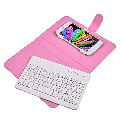 Goshyda Funda con Teclado Bluetooth, PU Funda Universal portátil con Tapa con Tapa para Teclado Bluetooth inalámbrico con Soporte, Bandeja Desmontable, para teléfonos iOS/Android(Rosa)