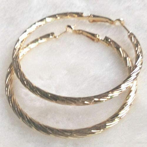 Cute New Yellow Gold Plated Nicely Textured Band 2'' 50MM Round Hoop Earrings