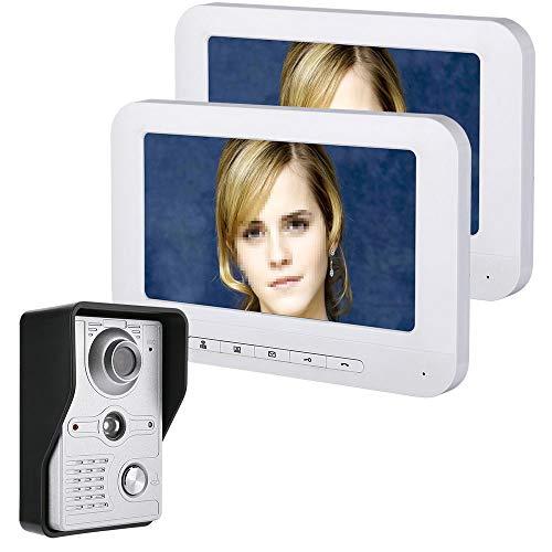 JaidWefj Video Türsprechanlage Türklingel Gegensprechanlage System mit 1 Kamera 2 Monitor/7 Zoll TFT LCD Monitor mit IR-Cut HD 700TVL Kamera/Touch-Taste/Nachtsicht