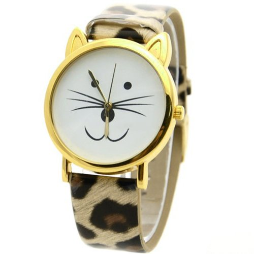 Reizende nette Katze-Gesichtsform Mädchen Zifferblatt Gold Alloy Rim Beard Faux Leder Uhr Armbanduhr Leopard