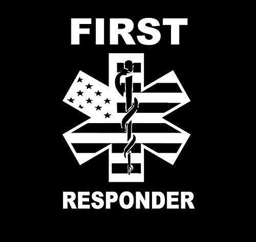 First Responder Symbol American Flag MKR Decal Vinyl Sticker |Cars Trucks Vans Walls Laptop|White|5.5 x 3.8 in|MKR1311